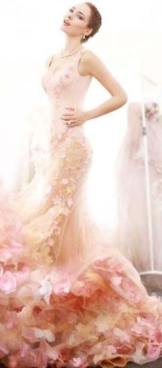 Dreamy Floral Evening Gown ~ Shades of Pink+ Ivory