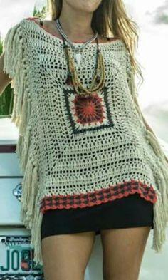 42 new Ideas crochet sweater tutorial granny squares Gilet Crochet, Crochet Tunic, Crochet Clothes, Crochet Lace, Crochet Summer, Boho Crochet Patterns, Crochet Stitches, Moda Crochet, Crochet Squares