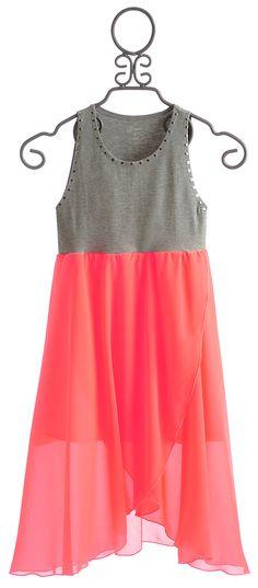 Flowers By Zoe Tween Neon Coral Tank Dress