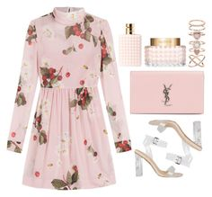 """Saros series 37"" by m-phil on Polyvore featuring RED Valentino, Yves Saint Laurent, Valentino, Accessorize, floral, Pink, YSL, valentino and yvessaintlaurent"