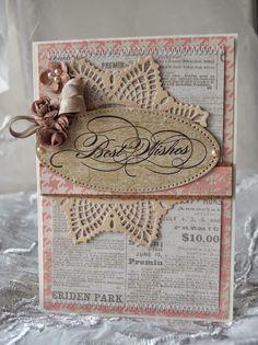 card doily prima crochet doily Best wishes stamp vintage shabby chic Kort med doily - Gitte blomsterbox