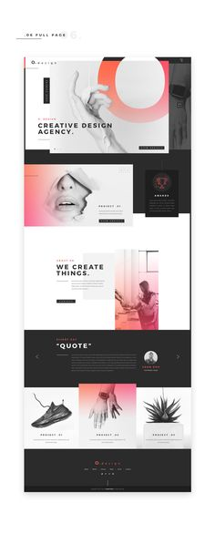 Projet for a design agency website. Exploring composition, colors & typography.