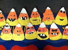 Candy corn art - Alternative to the jack o lanterns we did this year - same concept