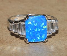 blue fire opal white topaz ring gemstone silver jewelry Sz 7.25 chic cocktail 0 #Cocktail