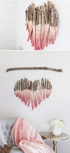 Art Piece Using Tree Branches. Click on image to see more DIY home decor crafts and ideas.