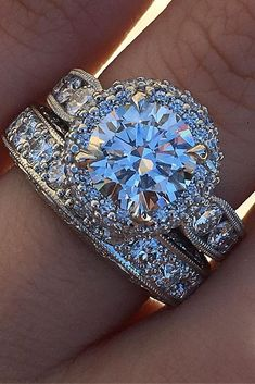 engagement ring trends white gold halo diamond round pave band #weddingring