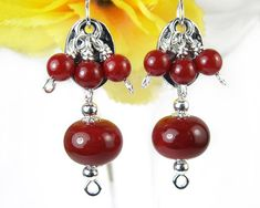 Red Dangle Earrings Red Cluster Earrings Red Coral by PrettyGonzo