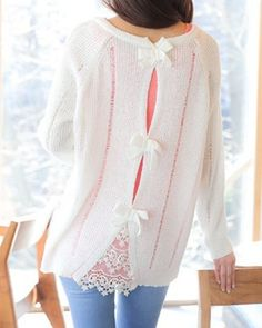 Stylish Scoop Neck Long Sleeve Hollow Out Bowknot Embellished Sweater For Women