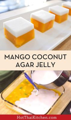 Mango Coconut Jelly Cubes วุ้นมะม่วง (woon mamuang) A refreshing, healthy, gluten-free, vegan dessert that looks impressive and tastes wonderful. It's my most popular recipe by far, check it out here! Gelatin Recipes, Jello Recipes, Easy Cake Recipes, Sweet Recipes, Vegan Gelatin, Drink Recipes, Jelly Desserts, Asian Desserts, No Bake Desserts