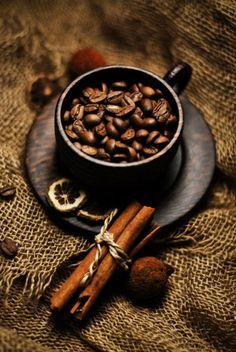 coffee beans + cinnamon sticks...