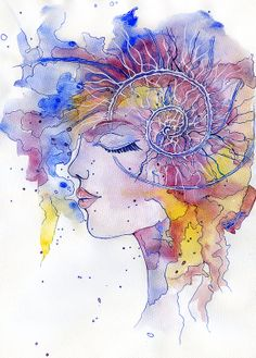 Cosmic Girl watercolor by CashmereSun on Etsy, €35.00