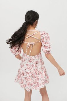 For Love & Lemons Éclair Floral Embroidered Mini Dress | Urban Outfitters Square Necklines, Love Story, Urban Outfitters, Mini, Sleeves, Cotton, Tops, Dresses, Products