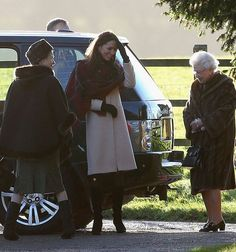 Duchess wore a cream coat paired with  a red tartan scaf earlier in the day for the family's private Christmas service - 12-25-13