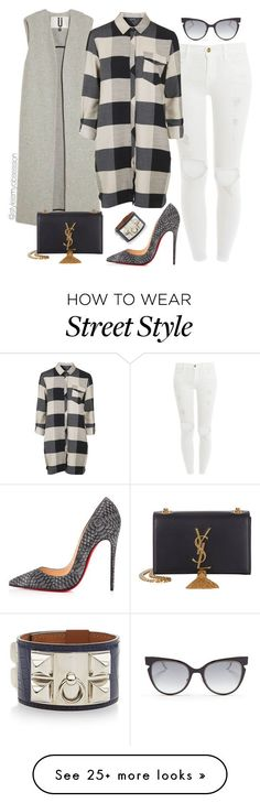 """""""Untitled #1724"""" by dnicoleg on Polyvore featuring Frame Denim, Fendi, Christian Louboutin, Hermès, Topshop and Yves Saint Laurent"""