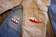 I'm pretty sure every single one of Tanner's pants have holes in the knees these days! How to make a monster patch