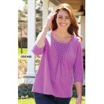 """I really liked this top and got all the colors. It fits great and is a little longer so it does not stop at the waist."" ~ Debie from California"