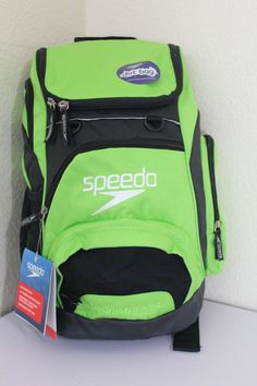 Speedo Teamster Backpack 25l Lime Green black Fast Ship (usa) With Tags  64eb92ca7555e