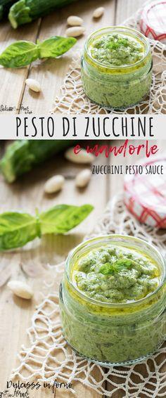 Zucchini and almond pesto and basil: a zucchini cream prepared with … - Photo Stock Pesto Sauce, Pesto Recipe, Vegetarian Recipes, Cooking Recipes, Healthy Recipes, Pesto Dishes, Zucchini Pesto, Mousse, Gastronomia