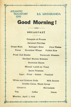 Breakfast Menu, Atlantic Transport Line S.S. Minnekahda 1928