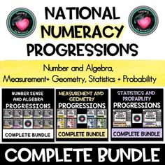 National NUMERACY PROGRESSIONS Complete BundleAustralian Curriculum NUMBER SENSE AND ALGEBRAQuantifying numbersAdditive strategiesMultiplicative strategiesOperating with decimalsOperating with percentages Understanding moneyNumber patterns and algebraic thinkingComparing units (ratios, rates and pro...
