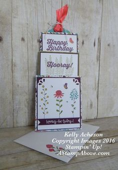 Wildflower Fields is a perfect stamp set to use to make a 3-tiered slider card!!!  Excellent video included.