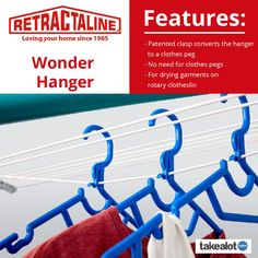 The wonder hanger is a highly versatile unisex hanger is designed to have more clothes hanging options than most current designs. See more using the link below. Clothes Pegs, Clothes Line, Cycle Store, Unisex Clothes, Laundry Drying, Blow Off, Love Your Home, Link