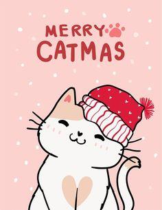 Noel Christmas, Christmas Cats, Christmas Greeting Cards, Christmas Greetings, Winter Christmas, Wallpaper Natal, Pop Art Wallpaper, Merry Christmas Wallpaper, Holiday Wallpaper