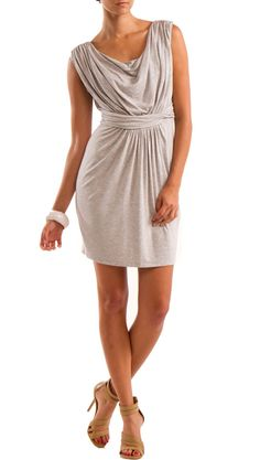 Cowl Neck Dress, Heather Grey by YOUNG by Yoyo Yeung >> Pretty and it looks comfortable! $66