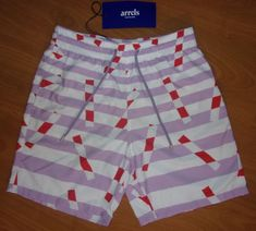 b37639326096f NWT New Arrels Barcelona Lavender White Red Geometric Men's Swim Trunks  Size M #fashion #