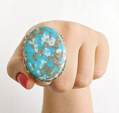 SALE - Huge Vintage Faux Turquoise Ring - Retro 1970s Gold Tone Adjustable Statement Marbled Teal, While & Gold Lucite Costume Jewelry by Maejean Vintage on Etsy, $16.00