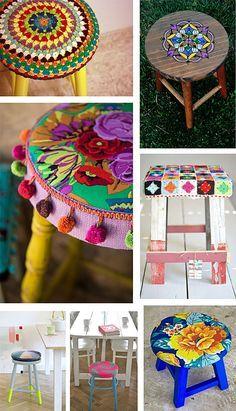 Banquetas Decoradas, chita, tricô,pintura Blog Remobília - Decoração Divertida e Alternativa