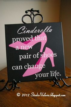 $20 Cinderella's Shoes canvas art by Poverty Barn. Now available in our new Etsy Shop!