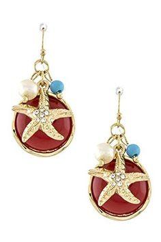Sea Life / Beach Crystal Starfish Drop Earring / AZERSEA006-GRE  Price : $28.00 http://www.arrascreations.com/Beach-Crystal-Starfish-Earring-AZERSEA006-GRE/dp/B00QZG7EZC