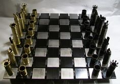 50 CALIBER BULLET shell chess set with steel board. AWESOME!