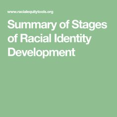 Summary of Stages of Racial Identity Development