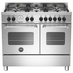 BuyBertazzoni Master Series Twin Dual Fuel Range Cooker, Stainless Steel Online at johnlewis.com