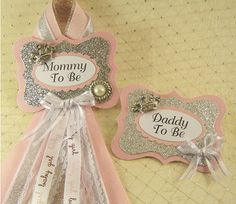 Pink and Silver Princess Baby Shower Badge Mommy To Be Corsage and Daddy To Be Measures: 3Badge x 6 Ribbon Pin attached on Back