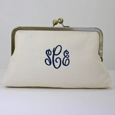 Monogrammed Linen Clutch with Seersucker by SteepleBayDesigns
