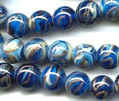 vintage glass beads, cobalt blue aventurina swirl japanese art glass beads, 14mm aventurine by beadtopiavintage on Etsy