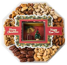 Mini Wishes Jumbo Merry Christmas Gift Baskets with Fresh Variety of Gourmet Nuts and Miniature Tree – Top Gift Idea for New Year Holiday Men Women and Family - 2 lb tray - Hobbies/Crafts Christmas Gift Baskets, Christmas Gift Box, Merry Christmas, Healthy Gourmet, Gourmet Food Gifts, Homemade Gift Baskets, Homemade Gifts, Diy Gifts For Men, Top Gifts