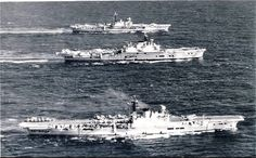 British Carriers: HMS Victorious HMS Ark Royal and HMS Hermes in the Mediterranean Sea, circa Royal Navy Aircraft Carriers, Navy Carriers, Montana Class Battleship, Hms Ark Royal, Joining The Navy, Capital Ship, Military Pictures, Navy Ships, Power Boats