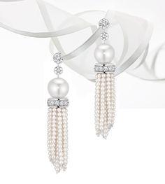"Perles de Chanel ""Cascade de Perles"" earrings with pearls and diamonds"