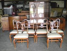 For Sell Vintage Wood Original Dining Room Set 14 Pc Table Leaves Chairs China Cabinet Buffet