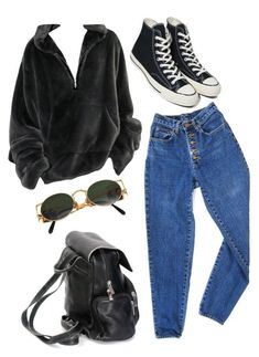A fashion look from March 2018 featuring blue high waisted jeans, converse trainers and hobo backpack. Browse and shop related looks. Teen Fashion Outfits, Edgy Outfits, Retro Outfits, Mode Outfits, Cute Casual Outfits, Look Fashion, 90s Fashion, Vintage Outfits, Girl Outfits