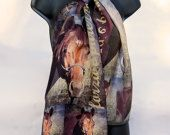 Digital Printing Scarf Horse Custom Made  from Your Art - Square or Rectangle Long Narrow Silk Fabric Printing Digital Hand Made