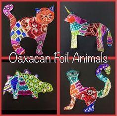 MeghCallie's Art Blog: Oaxacan Animals with Foil and Cardboard #ArtAndCraftStepByStep
