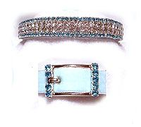 Our aqua clouds impored rhinestone dog collar, set against a pale blue velvet collar for a sensational look!