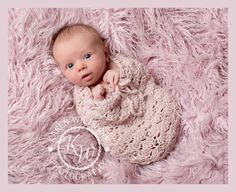 Newborn Photography Prop Swaddle sack crocheted in a close lacy design with pure new wool. Great addition to any prop box