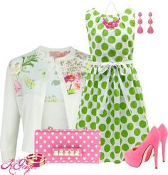 """""""Polka Dot Contest"""" by kginger on Polyvore Adorable! (Minus the hoochie-mama heels. Needs some cute ballet flats.)"""
