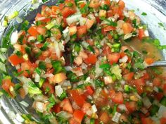 How to Make Pico De Gallo (Fresh Salsa) -- I make it like this, but I use oranges instead of limes-- my favorite salsa recipe! Mexican Dishes, Mexican Food Recipes, Great Recipes, Favorite Recipes, Ethnic Recipes, I Love Food, Good Food, Yummy Food, Dips